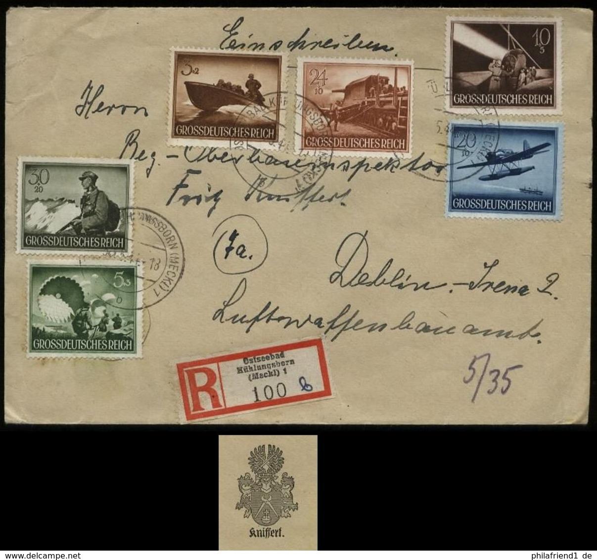 WW II DR Wehrmacht II Auf R - Briefumschlag: Gebraucht Ostseebad Kühlungsborn - Deblin 1944, Bedarfserhaltung. - Germany