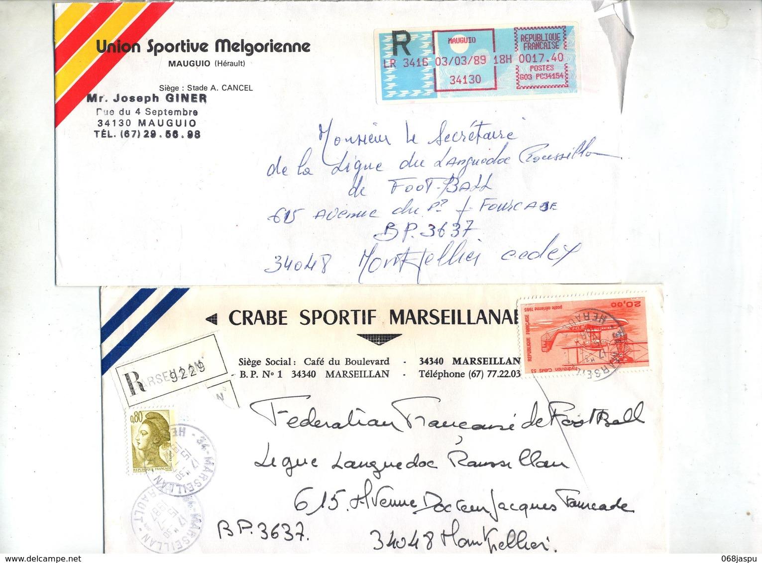 Lot 44 Lettre Recommandée Cachet + Machine  Herault à Voir Entete Club Football - Marcophilie (Lettres)
