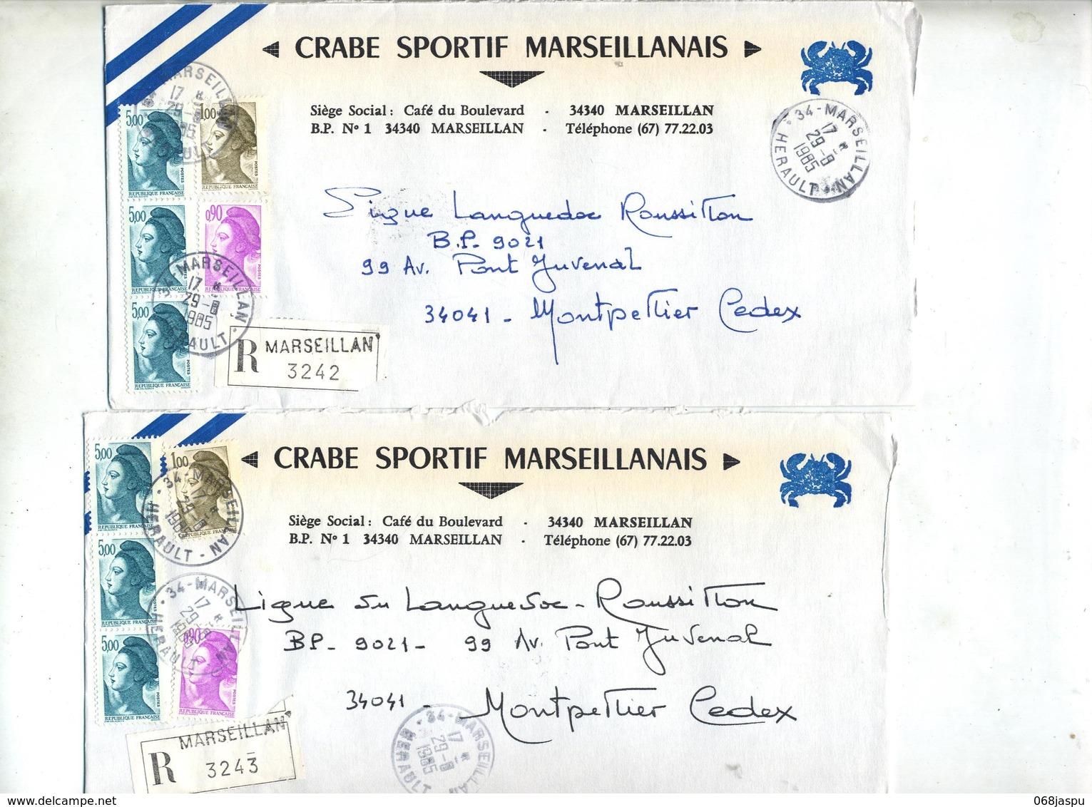 Lot 25 Lettre Recommandée Cachet + Machine Marseillan  à Voir Entete Club Football - Marcophilie (Lettres)