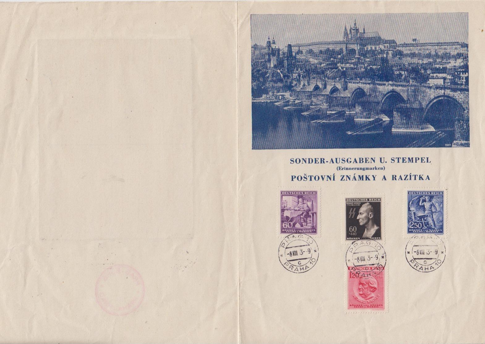 II.WK Böhmen Und Mähren 1943 Illustriertes Faltblatt Prag Mit 128/39,131 Und Innen Bild Heyderich - Bohemia & Moravia