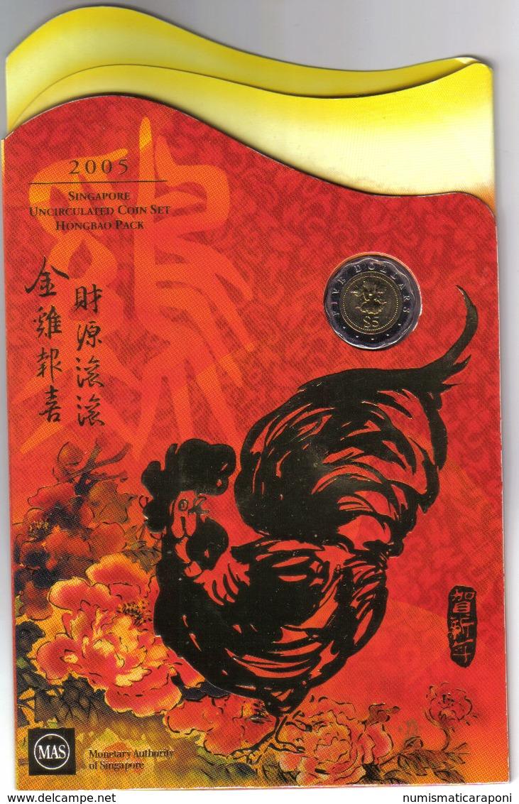 SINGAPORE 2005 ANNO DEL GALLO SERIE UFFICIALE 6 VALORI TOP PRICE - Singapour