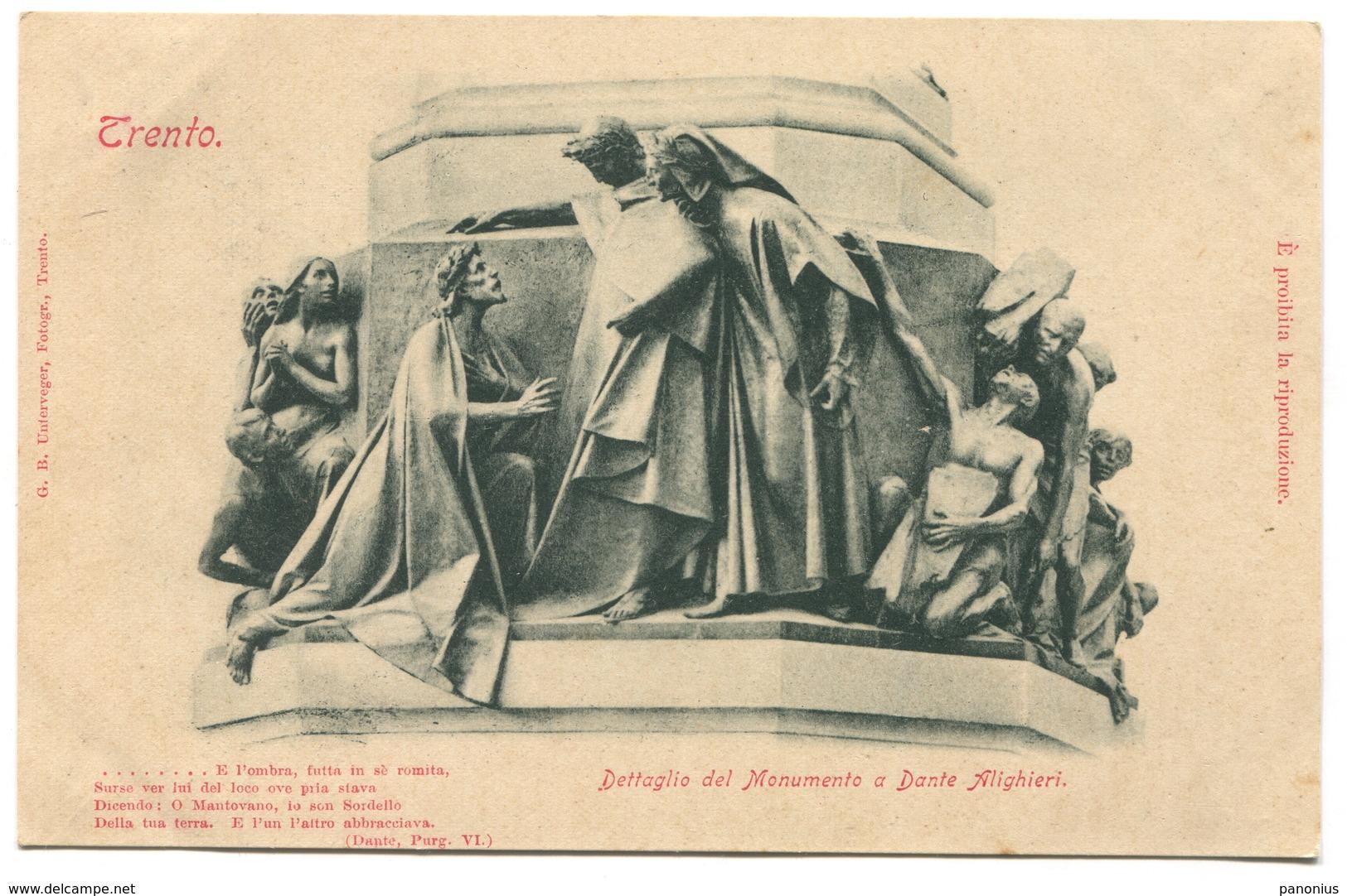 TRENTO ITALY - MONUMENTO A DANTE ALIGHIERI, OLD PC - Trento