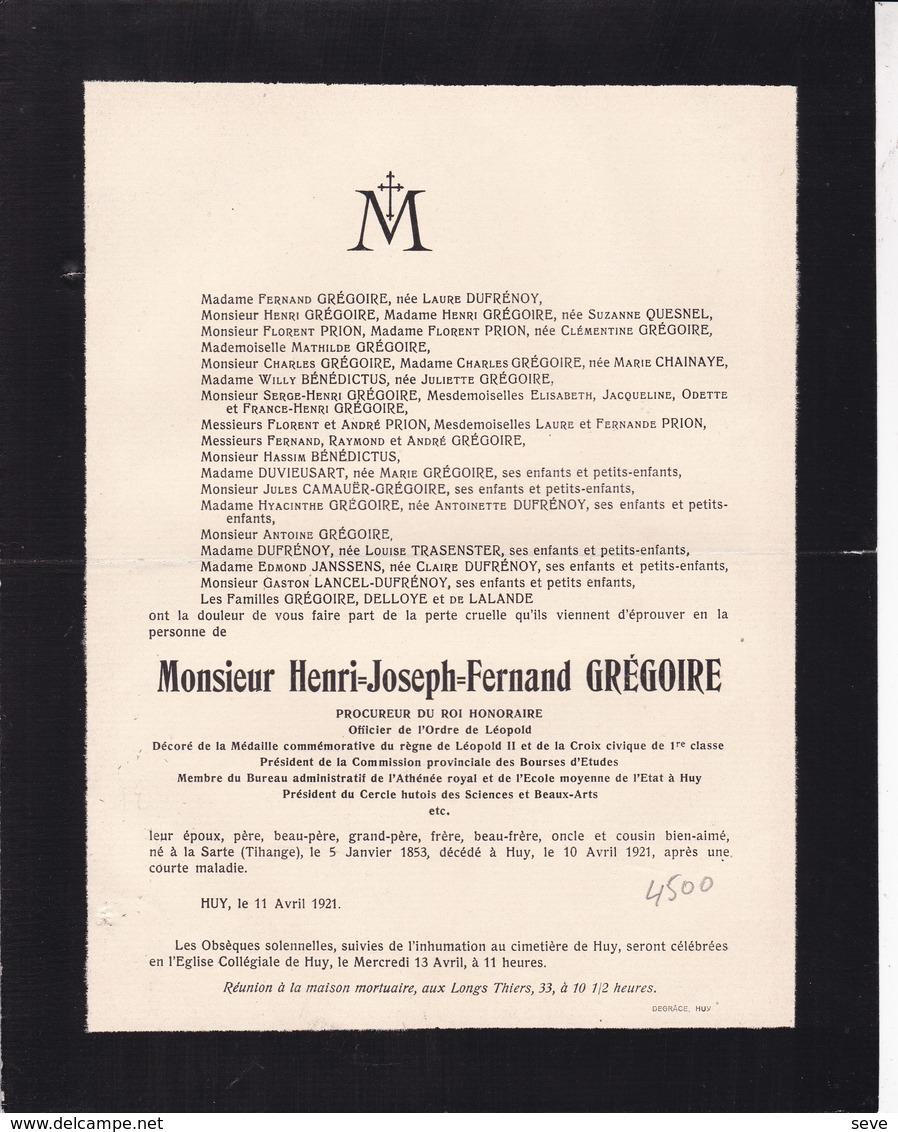 HUY La SARTE TIHANGE Procureur Henri GREGOIRE 1853-1921 Familles DUFRENOY DELLOYE De LALANDE - Décès
