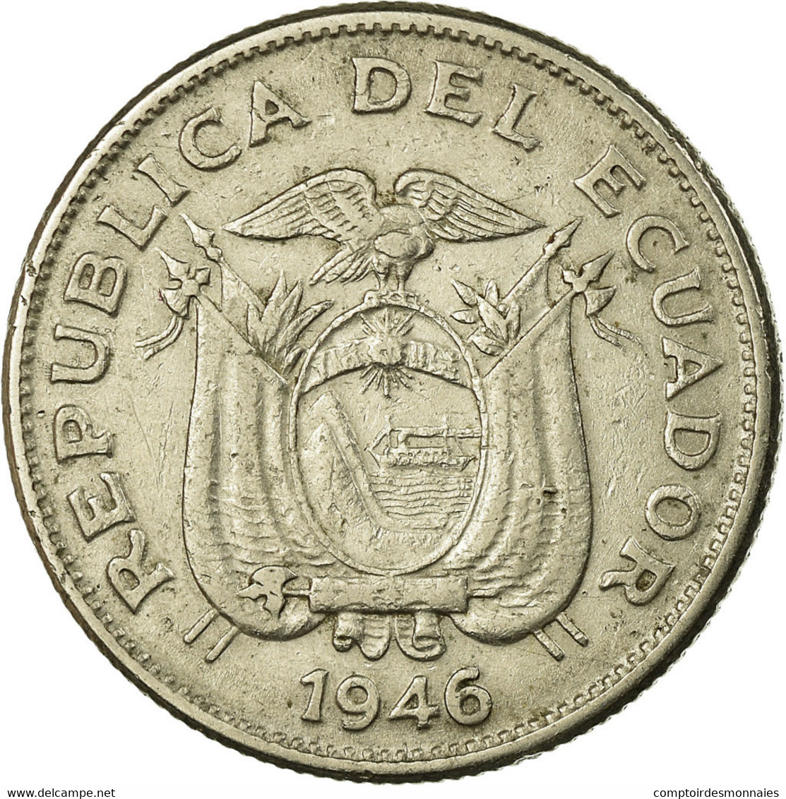 Monnaie, Équateur, Sucre, Un, 1946, TB+, Nickel, KM:78.2 - Ecuador