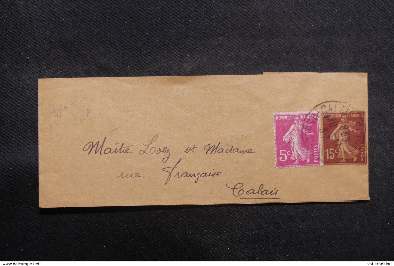 FRANCE - Bande Journal Type Semeuse + Complément De Calais Pour Calais En 1937 - L 41101 - Biglietto Postale