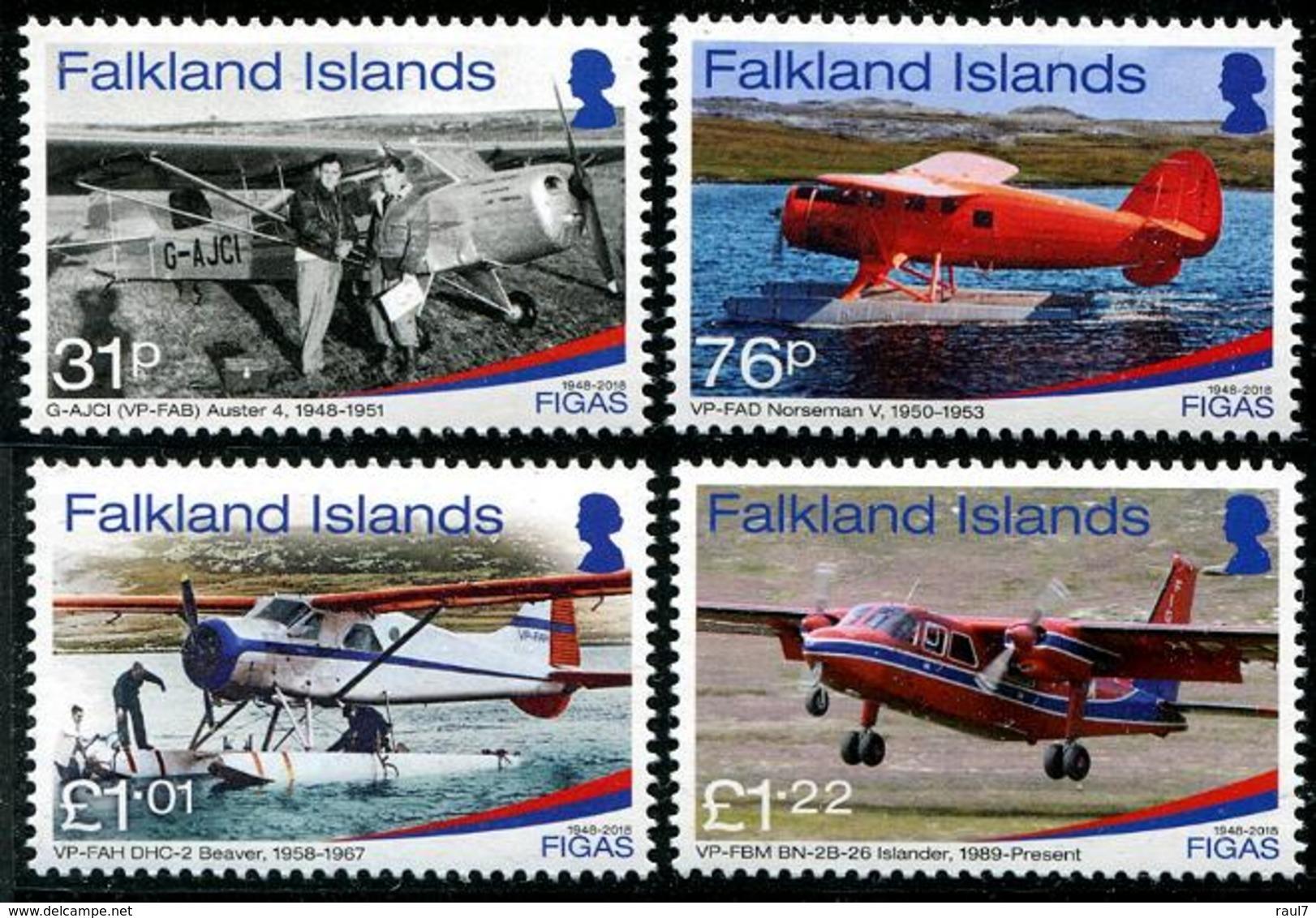 Falkland 2018 - FIGAS, Avions De Transport Aux Iles Falkland - 4 Val Neufs // Mnh - Falkland