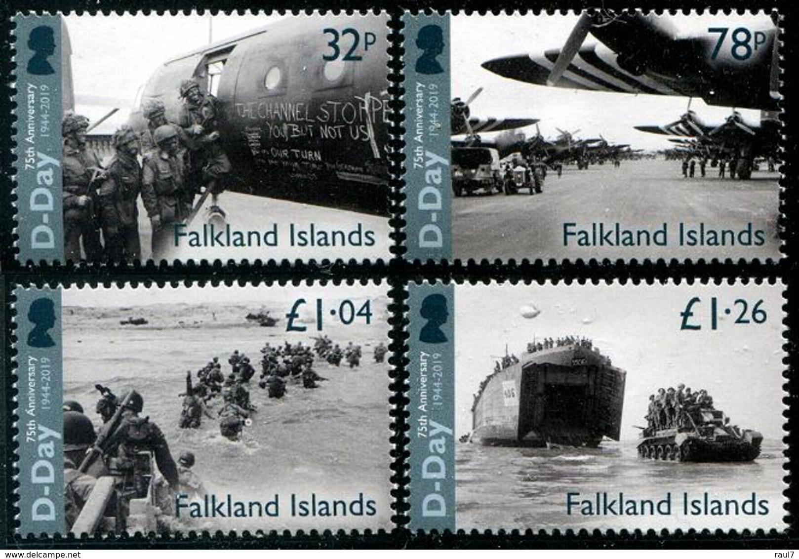 Falkland 2019 - D-Day, 2e Guerre Mondiale, Débarquement En Normandie - 4 Val Neufs // Mnh - Falkland