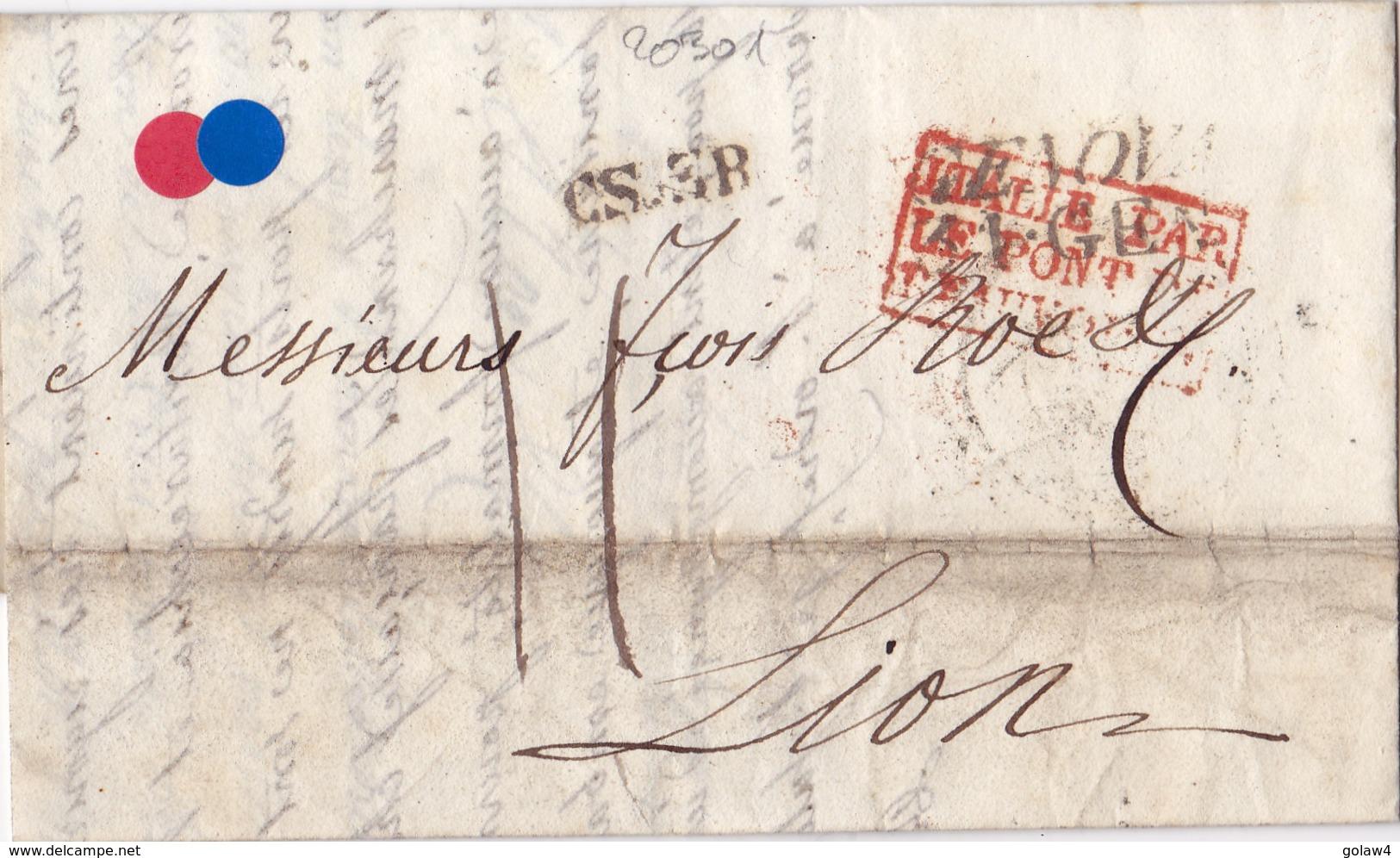 20301# LETTRE Obl GENOVA 1835 GENES Pour LYON RHONE ENTREE C.S.3.R ITALIE PAR PONT DE BEAUVOISIN COURRIER SARDE - Storia Postale
