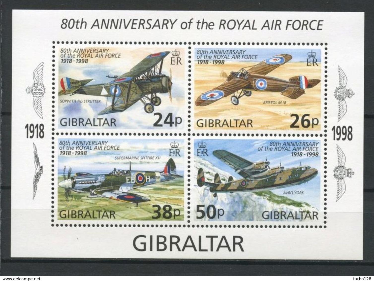 Gibraltar 1998 Bloc N° 31 ** Neufs MNH Superbes C 7,50 € Avions Planes Royal Air Force Sopwith Bristol Avro Y Transports - Gibraltar