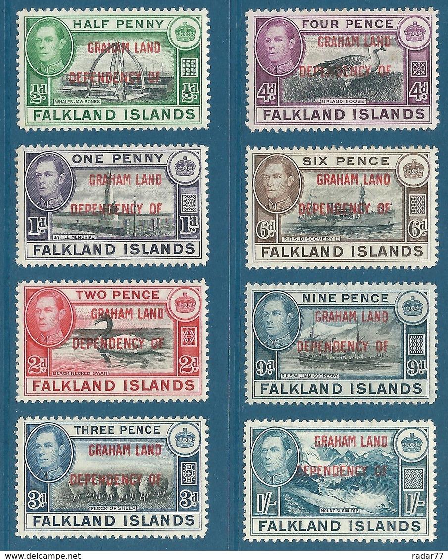 Terre De Graham N°9 à 16 Timbres Des Falklands De 1937-41 Surchargés GRAHAM LAND DEPENDENCY OF - Neufs** - Falkland