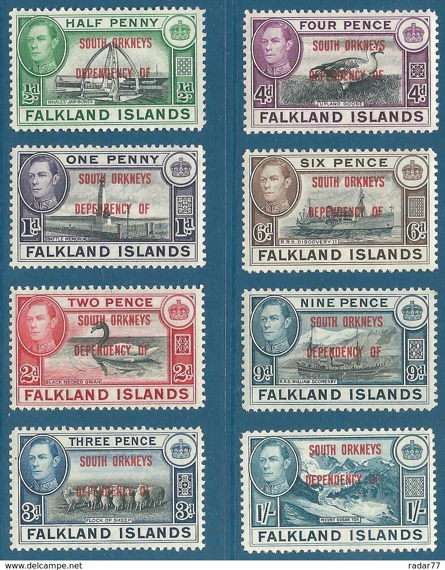 Orchades Du Sud N°17 à 24 Timbres Des Falklands De 1937-41 Surchargés SOUTH ORKNEYS DEPENDENCY OF - Neufs** - Falkland
