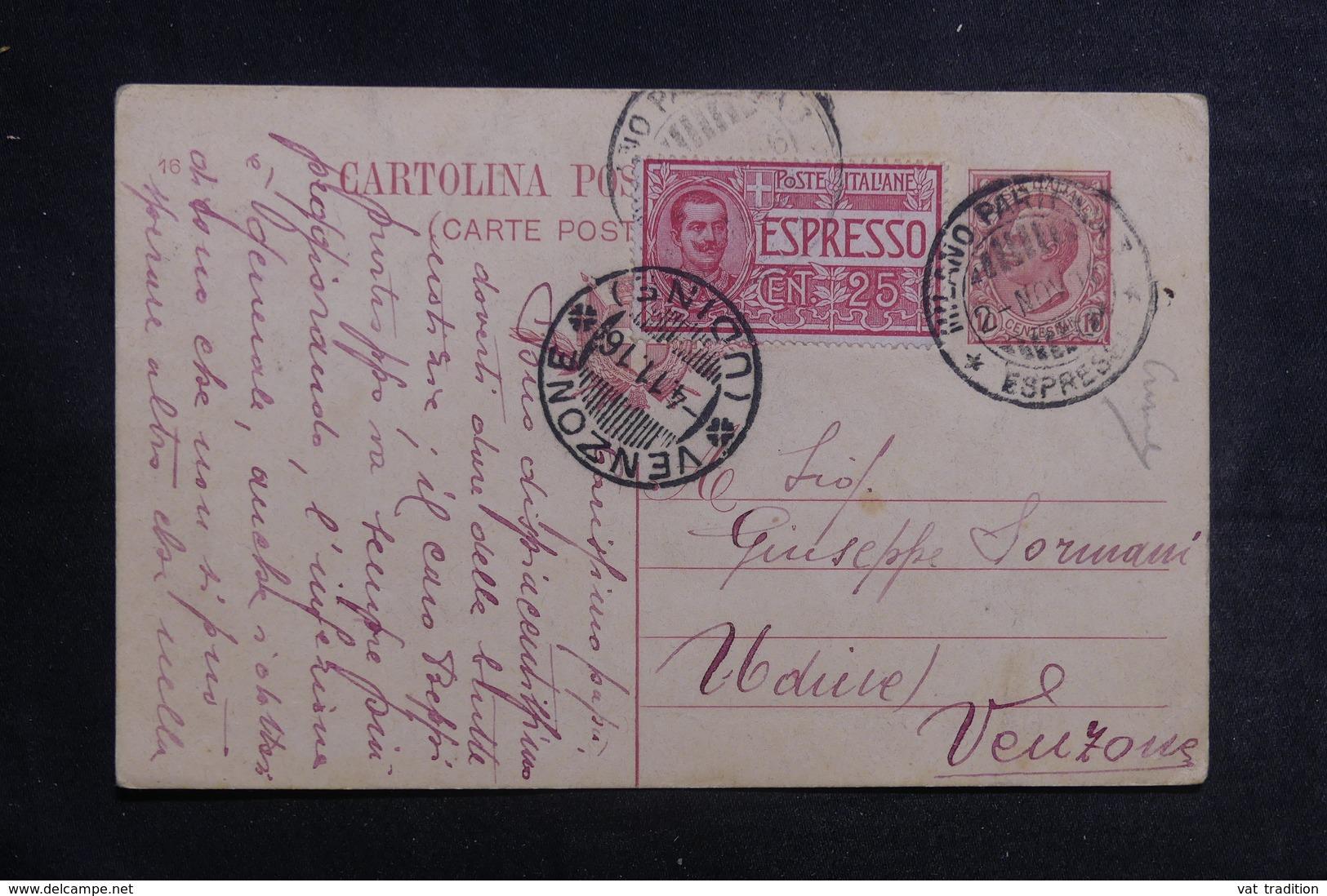 ITALIE - Entier Postal + Complément De Milano En Exprès Pour Venzone En 1916 - A Voir - L 41152 - 1900-44 Vittorio Emanuele III