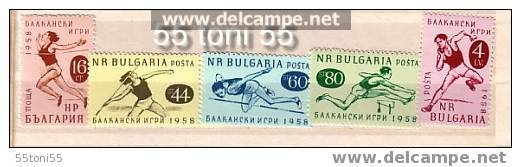 BULGARIA / Bulgarie  1958   SPORT - BALKAN GAMES. 5v.-MNH - Francobolli