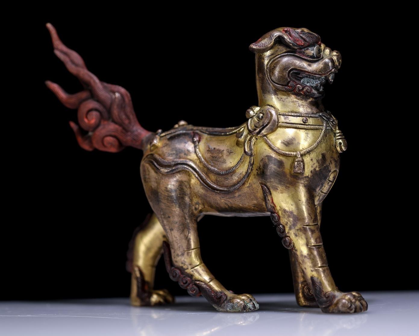 China Tibet Tibetan Buddhism Copper Gilt Lion - Rame
