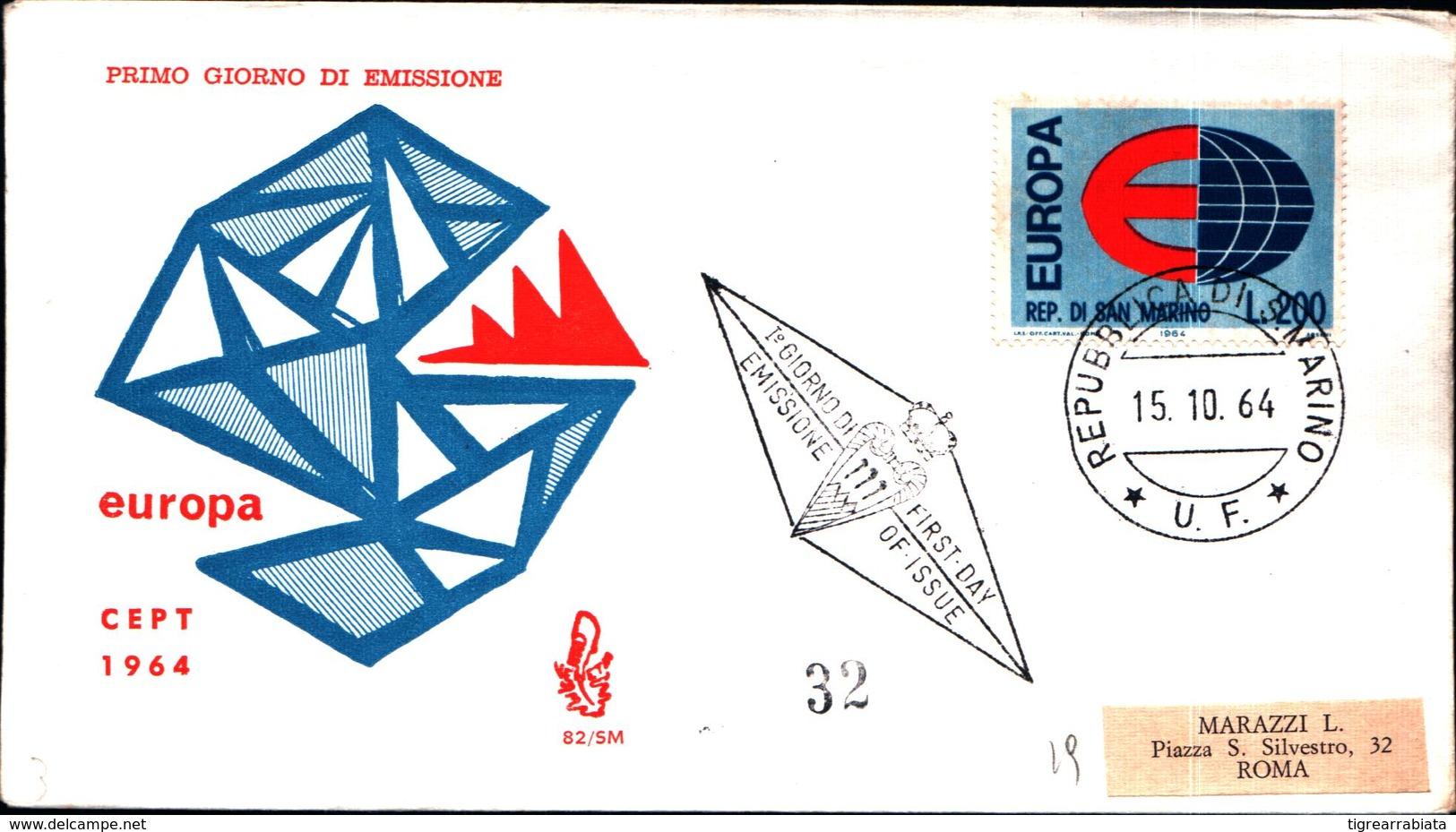 13232a)F.D.C.SAN Marino      Europa - 15 Ottobre 1964 - FDC