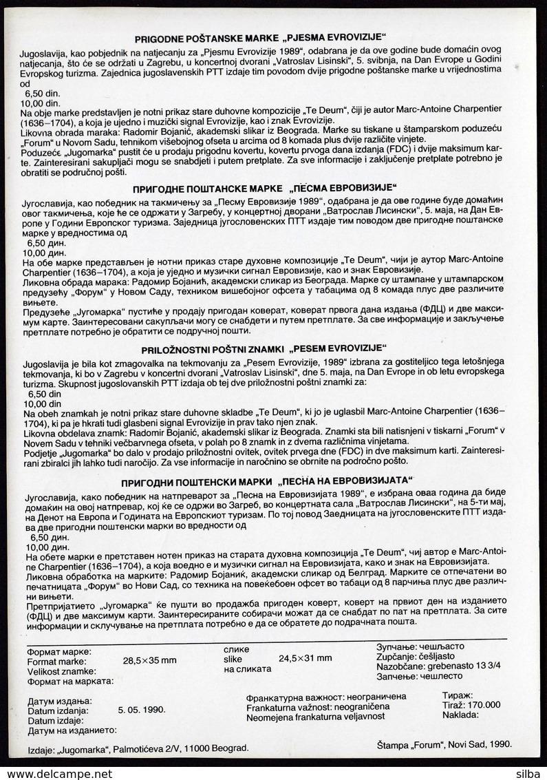 Yugoslavia 1990 / Eurovision Song Contest, Zagreb / Prospectus, Leaflet, Brochure - Jugoslawien