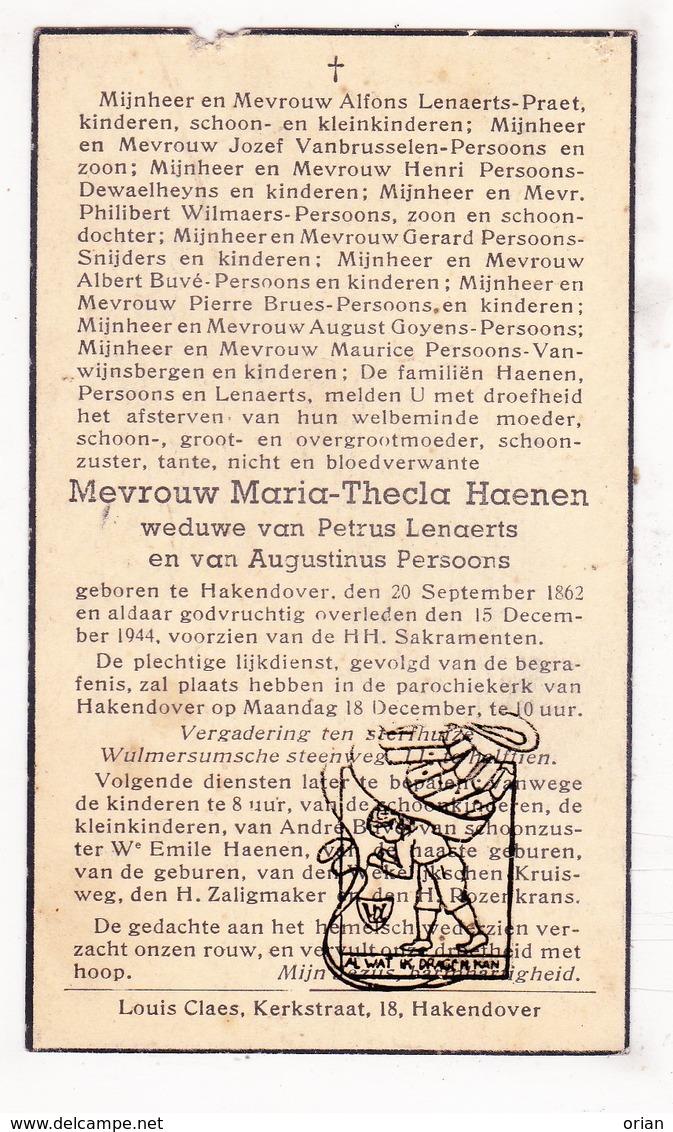 DP Maria Thecla Haenen ° Hakendover Tienen 1862 † 1944 X Lenaerts Xx Persoons / Buvé Praet VanBrusselen Snijders Brues - Images Religieuses