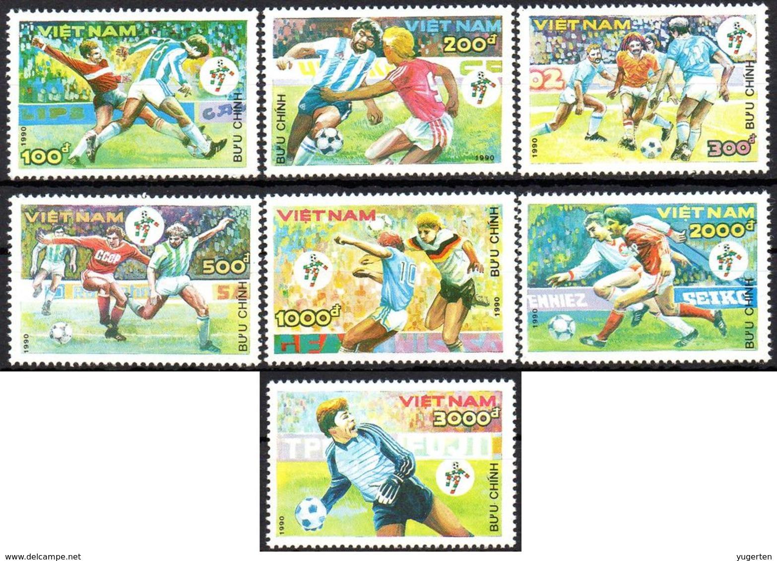 VIETNAM 1990 - 7v - MNH - FIFA World Cup Football Italy Futbol Futebol Soccer Calcio Italia - Fußball Футбол 足球 - Wereldkampioenschap