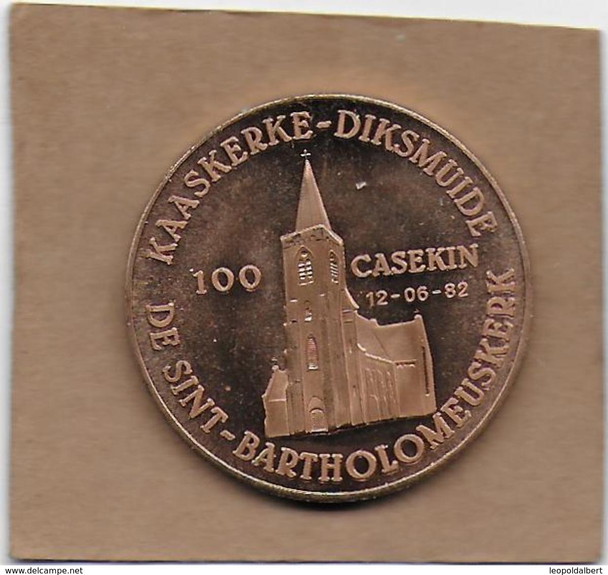 100 CASEKIN 1982 DIKSMUIDE KAASKERKE DE SINT-BARTHOLOMEUSKERK - Gemeentepenningen