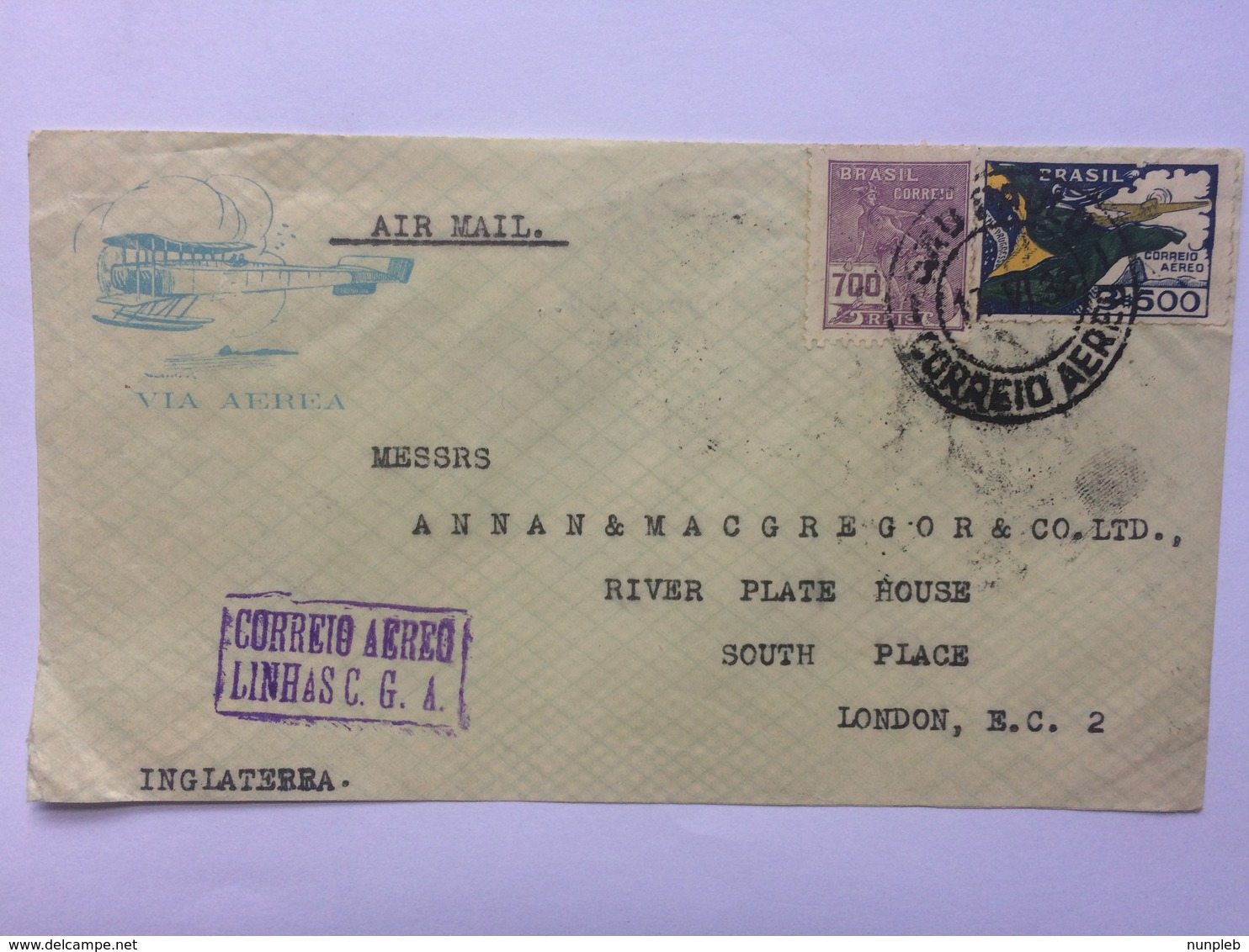 BRAZIL 1933 Air Mail Cover Sao Paulo To England - Aeroplane Cachet And Correio Aereo Cachet - Brésil