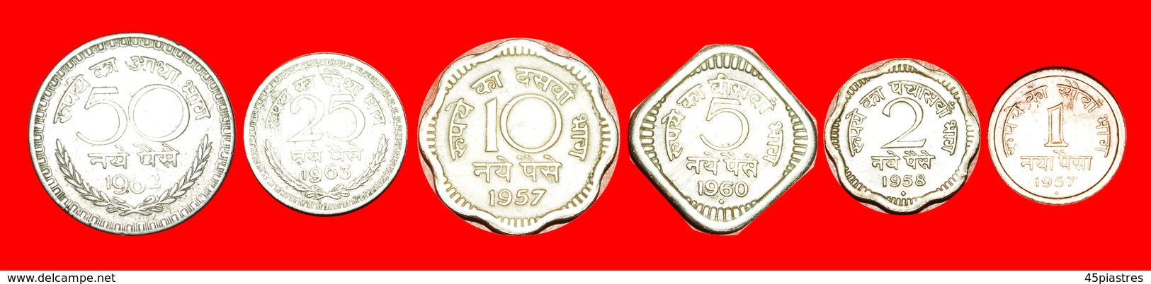 + SET 6 COINS: INDIA ★ 1-2-5-10-25-50 NEW PAISE TYPE 1957-1963! LOW START ★ NO RESERVE! - Kilowaar - Munten