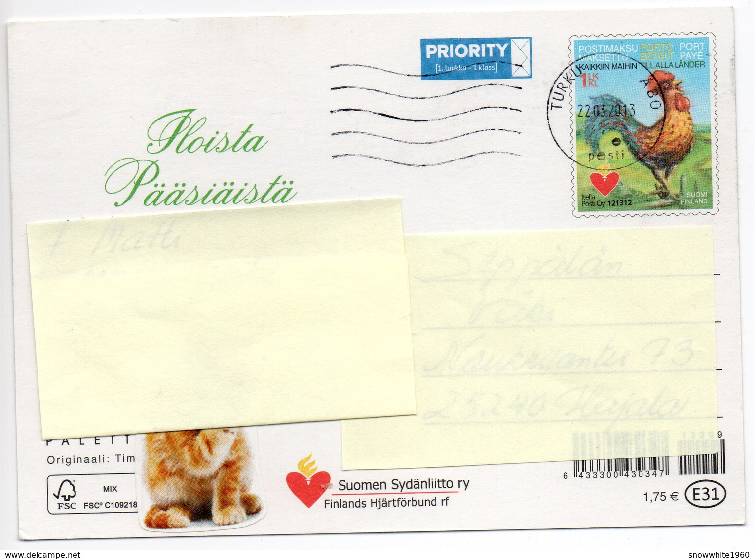 Postal Stationery - FINLAND - HEART ASSOCIATION - 2013 - Postage Paid - EASTER - CHICKENS - EASTER WITCH & CAT - Finlandia