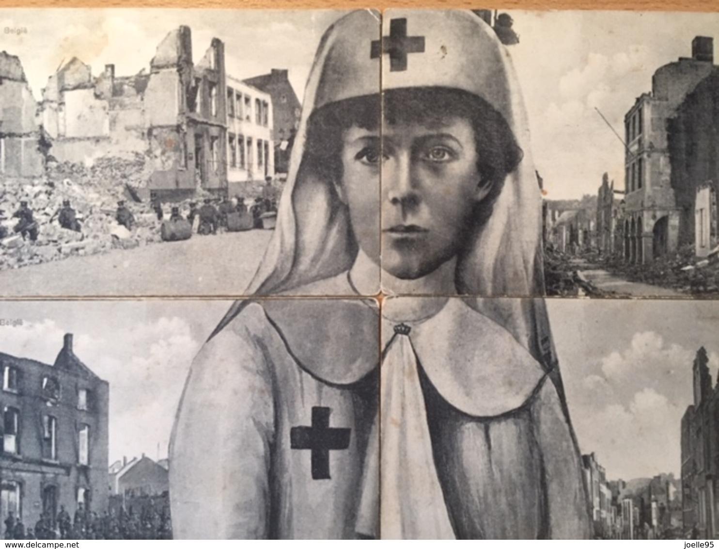 Antwerpen - Visé- Luik - Geteisterd België - Koningin Elisabeth - 4-delig - Eerste Wereldoorlog - Verwoesting - 1914 - Belgique