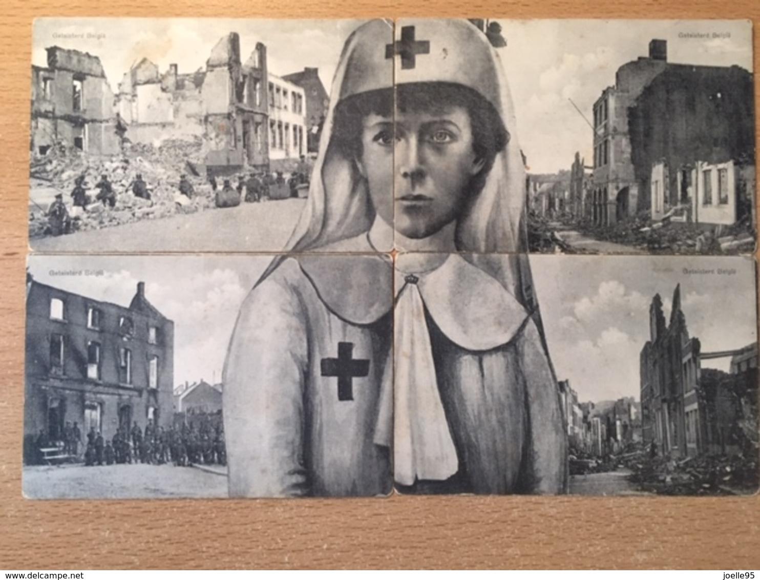 Antwerpen - Visé- Luik - Geteisterd België - Koningin Elisabeth - 4-delig - Eerste Wereldoorlog - Verwoesting - 1914 - Non Classés