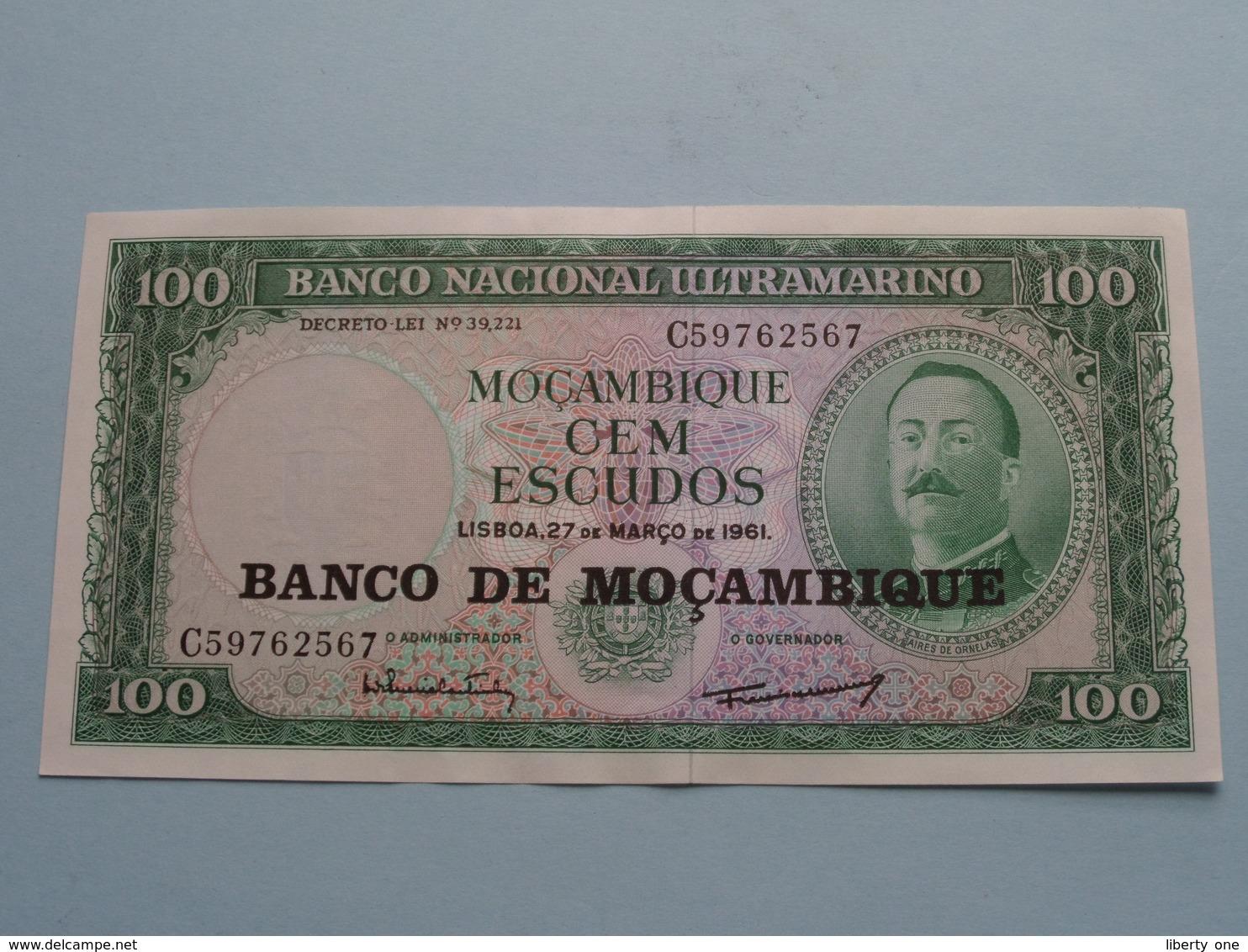 100 Cem ESCUDOS Lisboa De Mar 1961 ( C59762567 ) Banco De Moçambique ( For Grade, Please See Photo ) ! - Mozambique