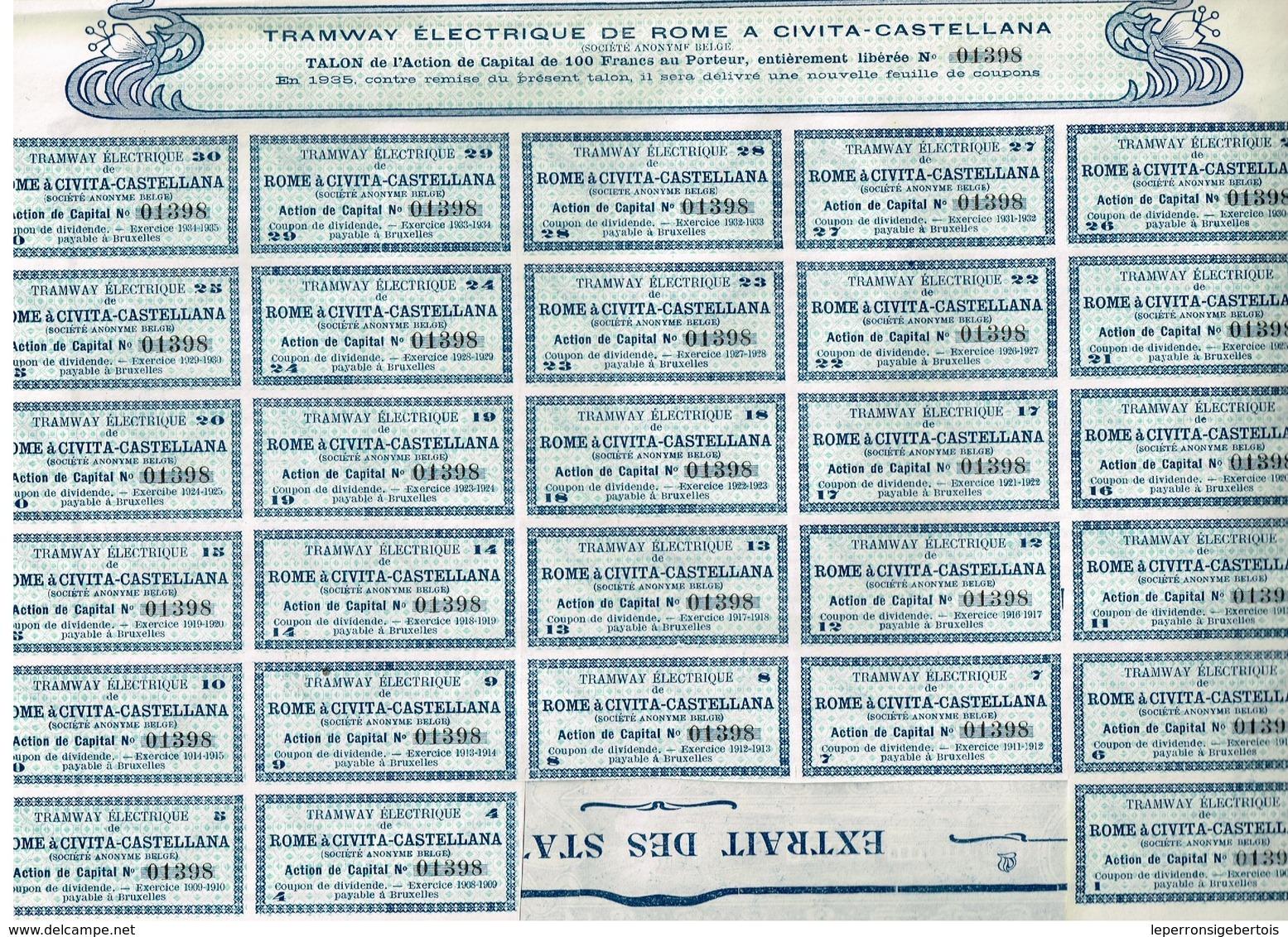 Titre Ancien - Tramway Electrique De Rome à Civita-Castellana - Titre De 1904 - Déco - Chemin De Fer & Tramway