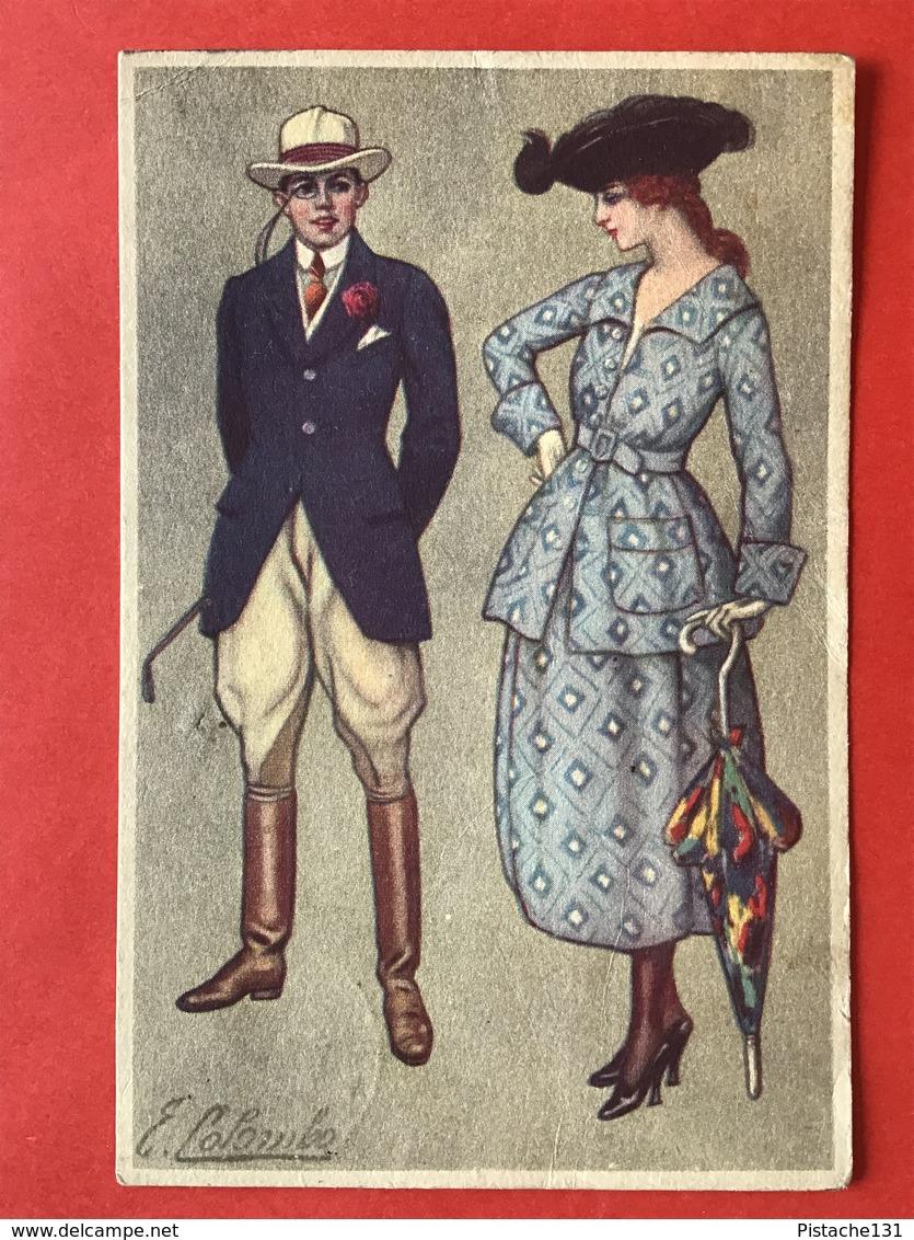 1921 - Illustrateur COLOMBO - DAME MET PARAPLU EN GROTE HOED - MAN MET RIJBROEK EN ZWEEPJE - PANTALON D'EQUITATION - Colombo, E.