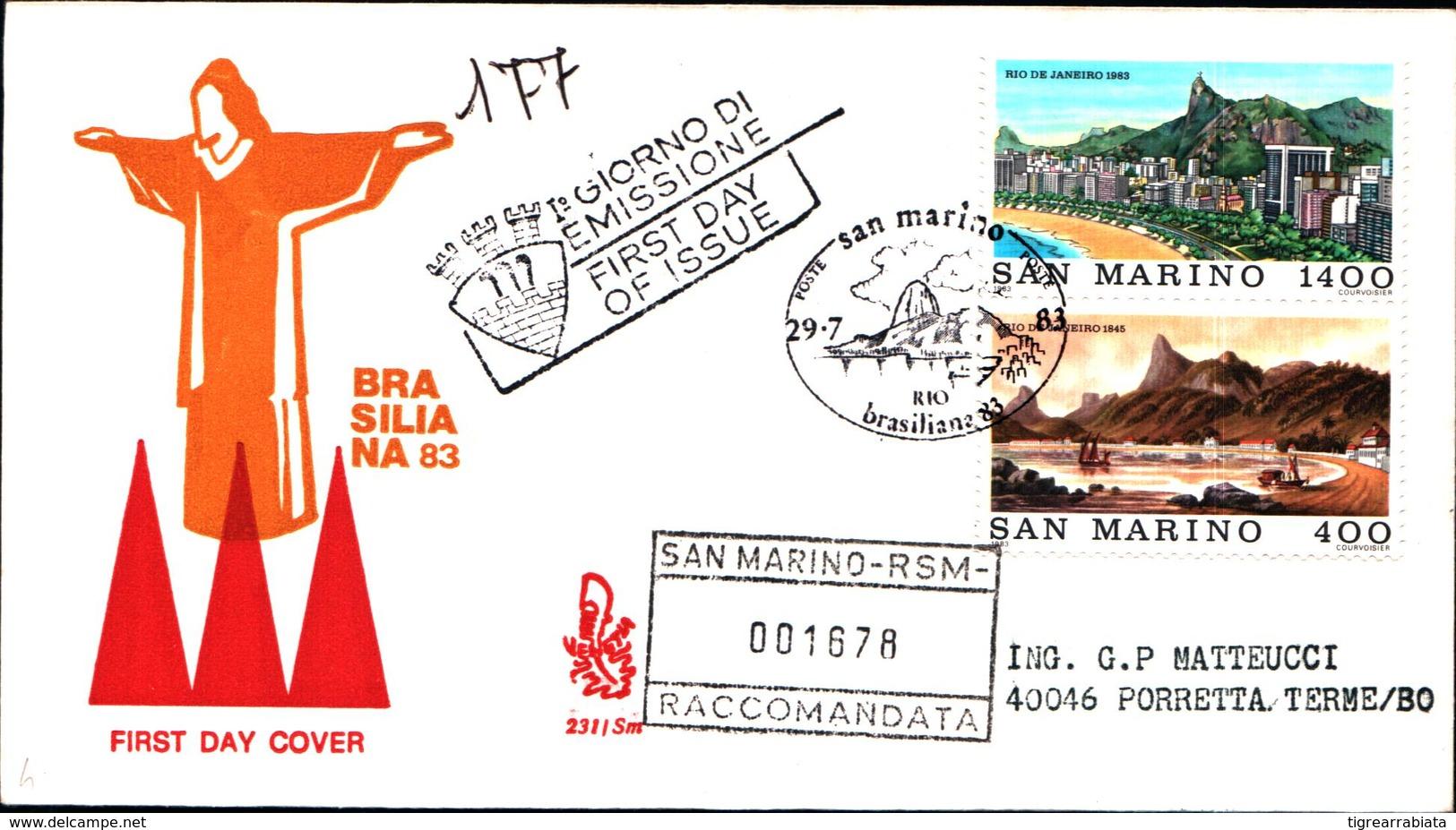 13275a)F.D.C.SAN Marino      Esposizione Filatelica Internazionale, A Rio De Janeiro - 29 Luglio 1983 - FDC