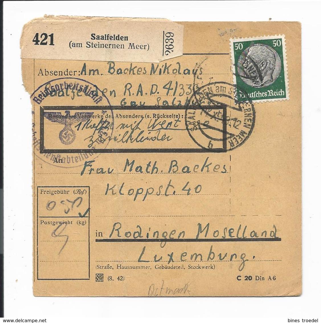 DR  525 EF - 50 Pf Hindenburg Med. Paketkarte Von Saalfelden Am Steinernen Meer Nach Luxemburg - Briefe U. Dokumente