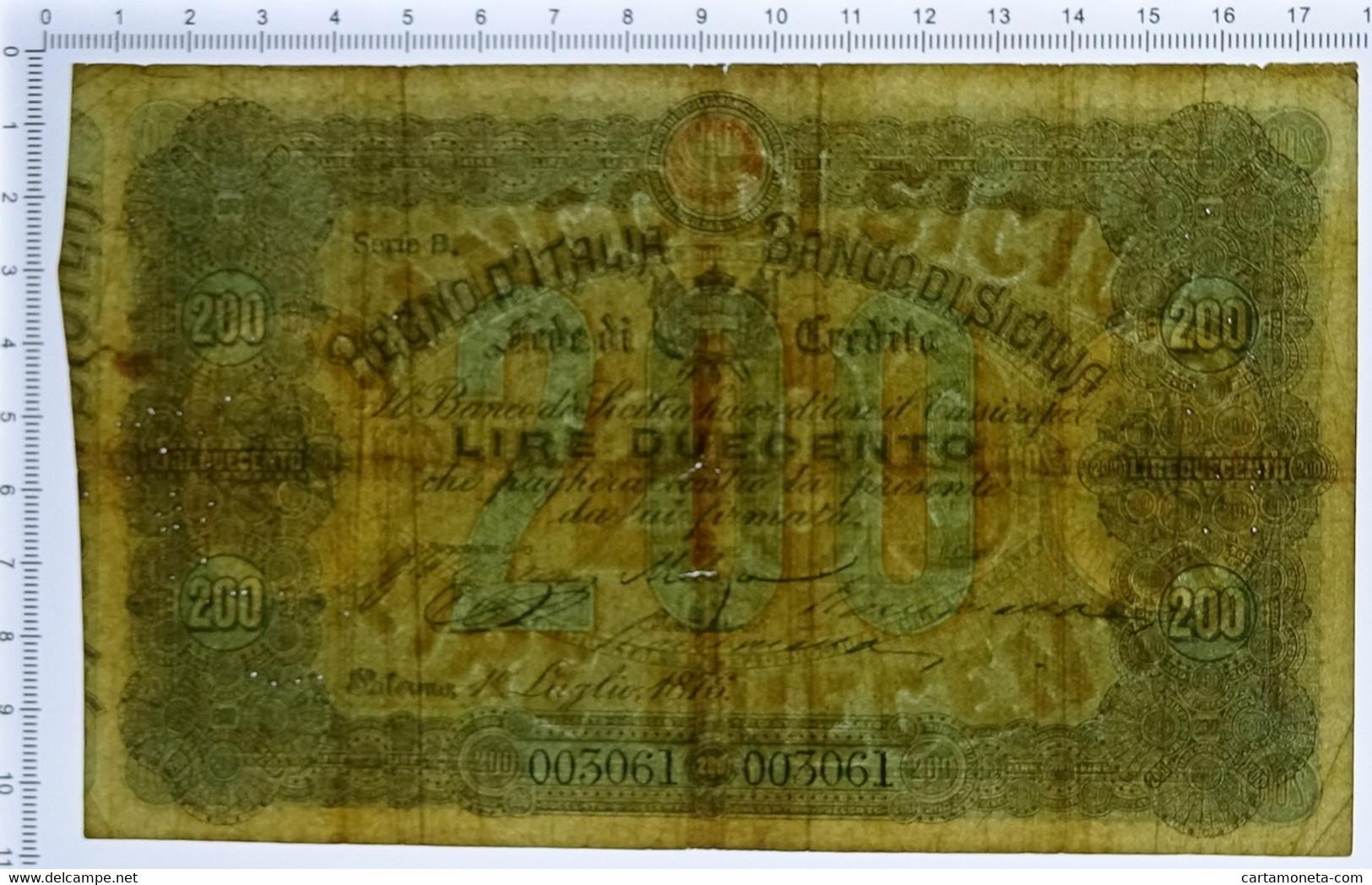 200 LIRE BANCO DI SICILIA FEDE DI CREDITO 01/07/1876 QBB - [ 1] …-1946 : Regno