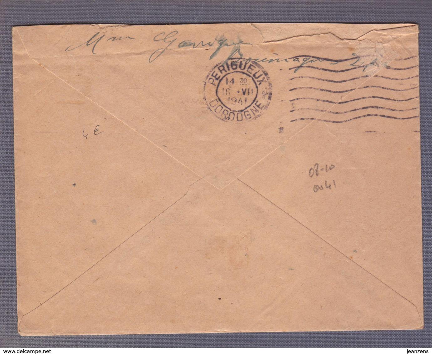 Lettre Aff  Paire Du 50/65c Paix Obl.  Bouniagues 15.07.1941 -> Périgueux - Marcophilie (Lettres)