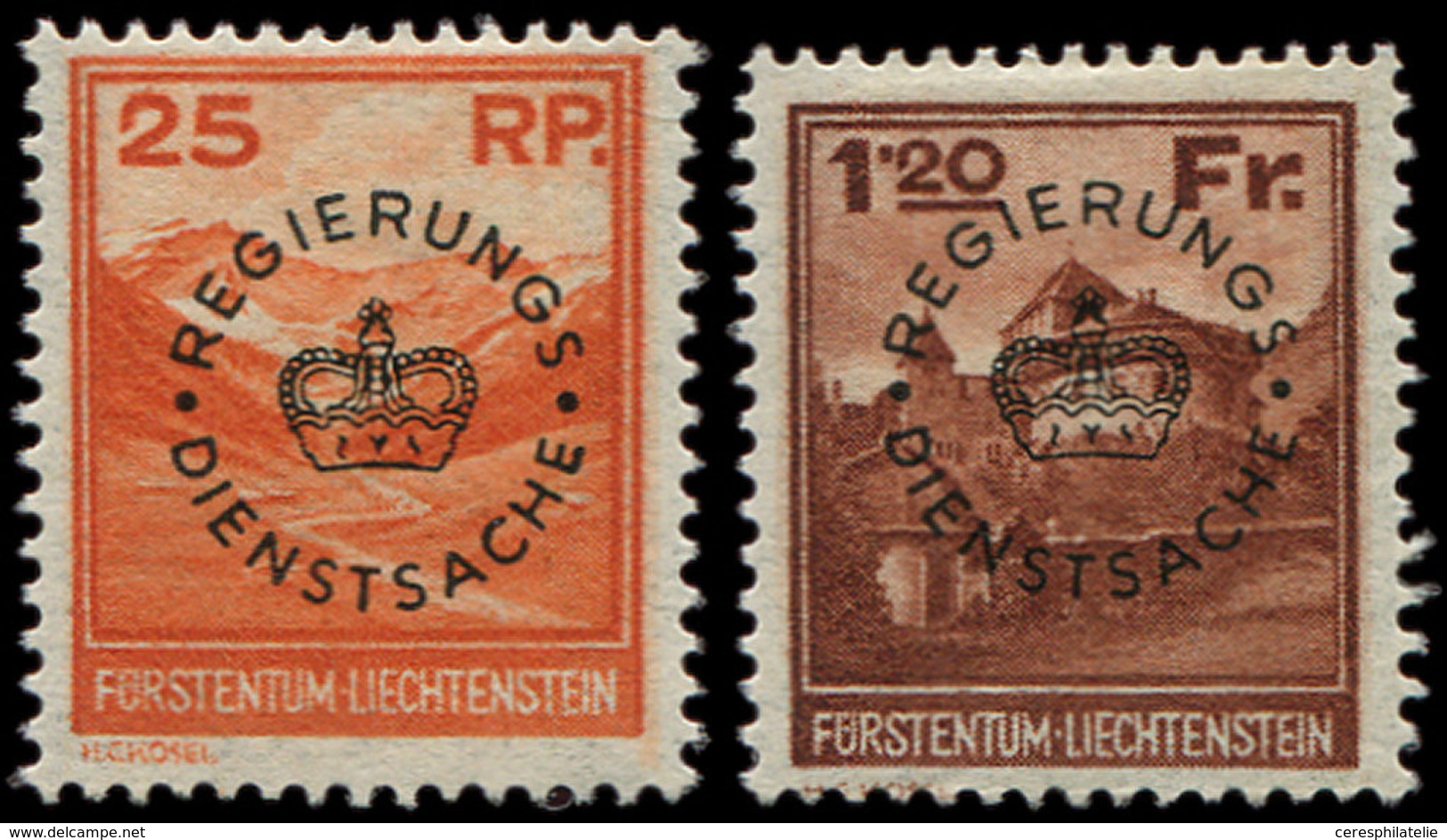 * LIECHTENSTEIN Service 9/10 : 25r. Rouge-orange Et 1f20 Brun-rouge, TB - Official