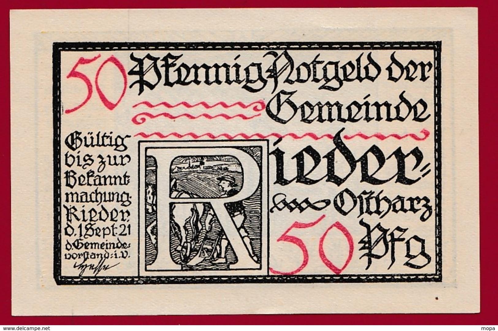 Allemagne 1 Notgeld  50 Pfenning  Stadt Rieder (RARE) Dans L 'état N °4579 - [ 3] 1918-1933 : République De Weimar