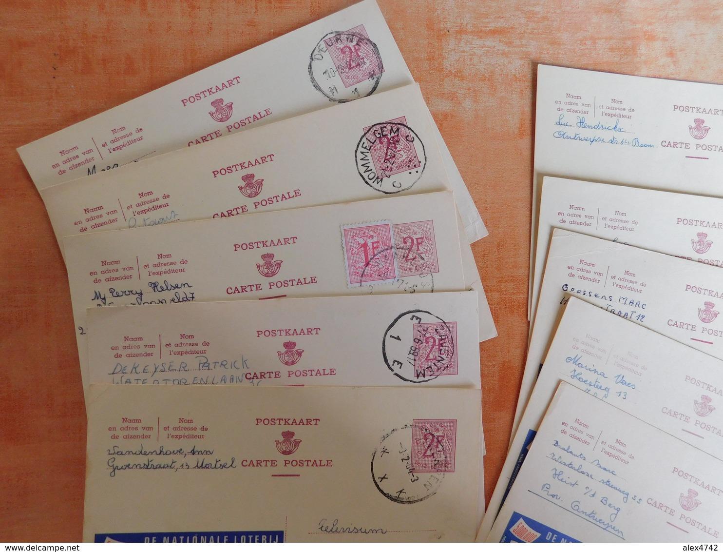 Lot 10 Entiers Postaux Publibels, National Loterij, Pour Cachets  (T8) - Entiers Postaux