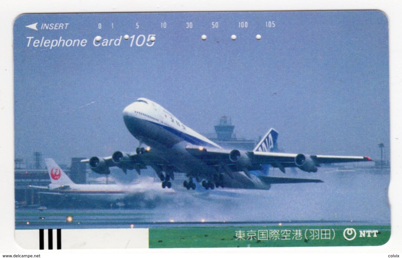 JAPON TELECARTE ANCIENNE NTT FRONTBAR BARCODE 230-048 AVION B 747 - Avions