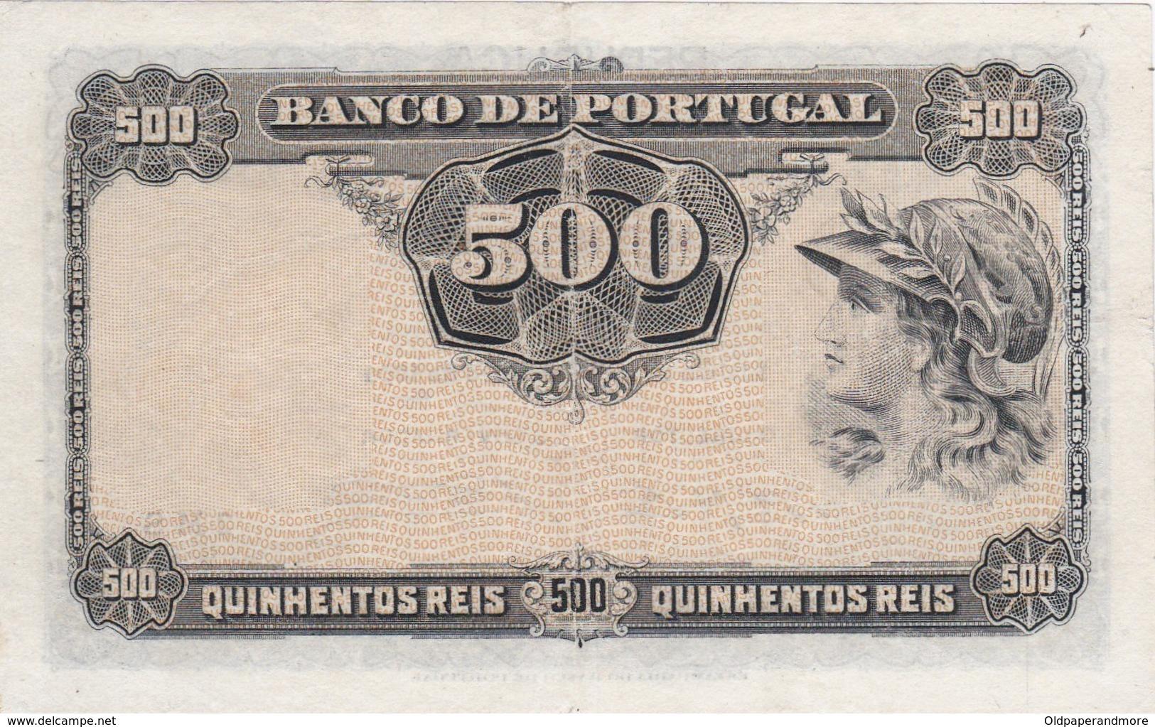 PORTUGAL BANKNOTE - 500 REIS - CHAPA 3 - 27 - 12 - 1904 - Portugal