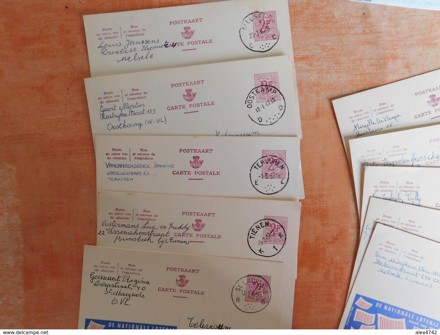 Lot 10 Entiers Postaux Publibels, National Loterij, Pour Cachets  (V8) - Entiers Postaux