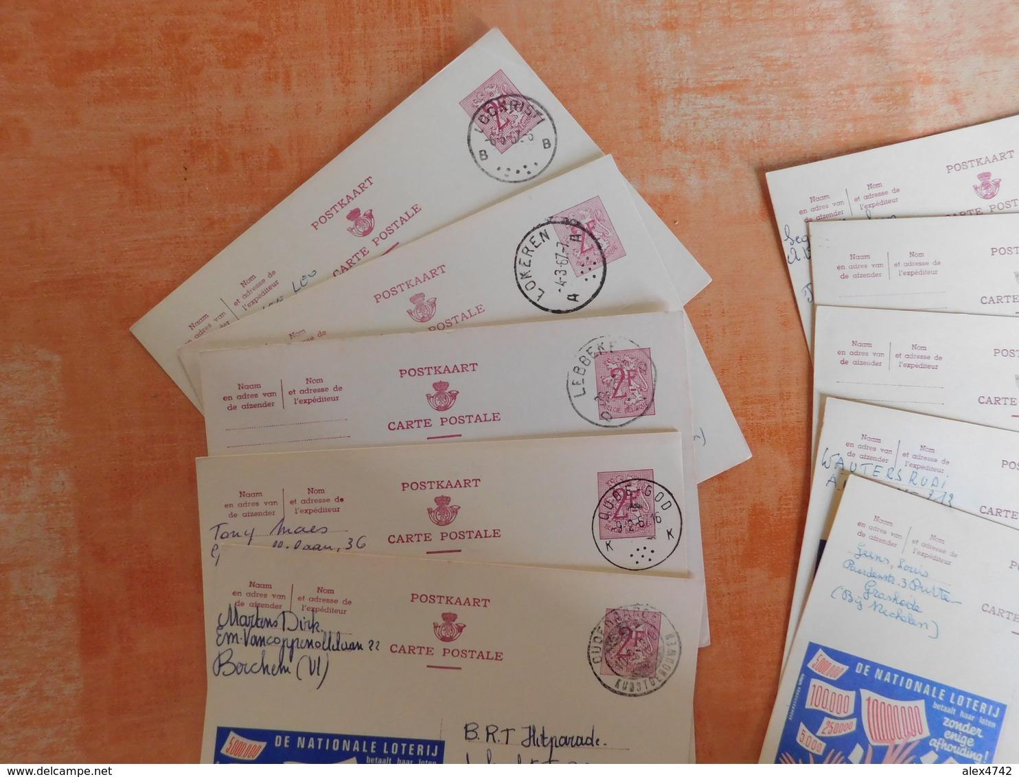 Lot 10 Entiers Postaux Publibels, National Loterij, Pour Cachets  (V8) - Publibels