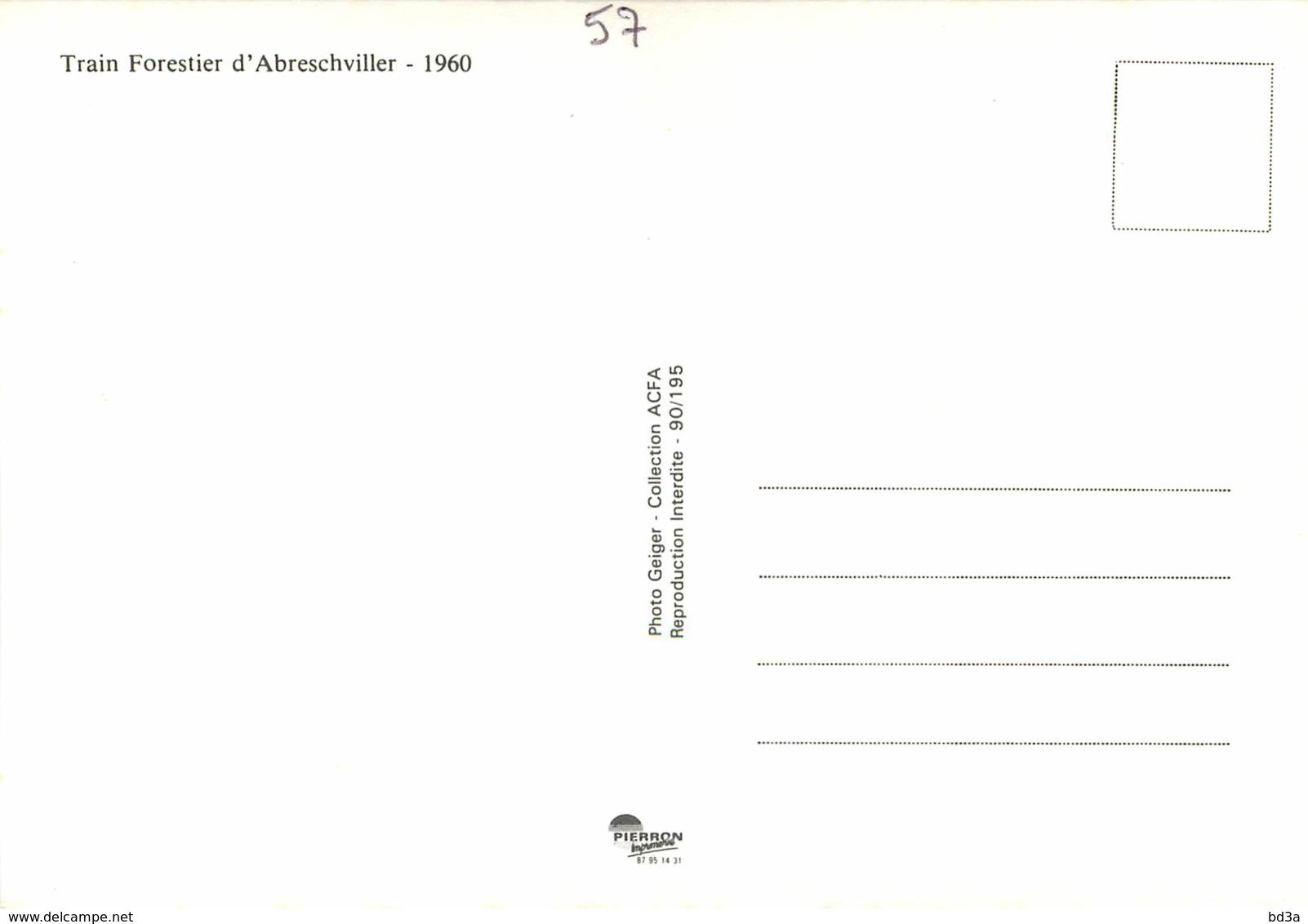 57 - CHEMIN DE FER D'ABRESCHVILLER VERS 1960 - REPRODUCTION - Other Municipalities