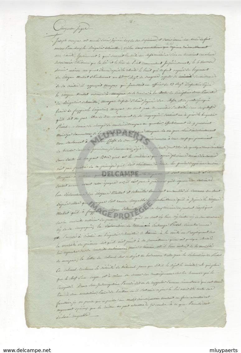/!\ 1295 - Parchemin - 179x? - Lettre Au Citoyen Juge, Sentence Et Condamnation D'un Militaire - Manuscritos