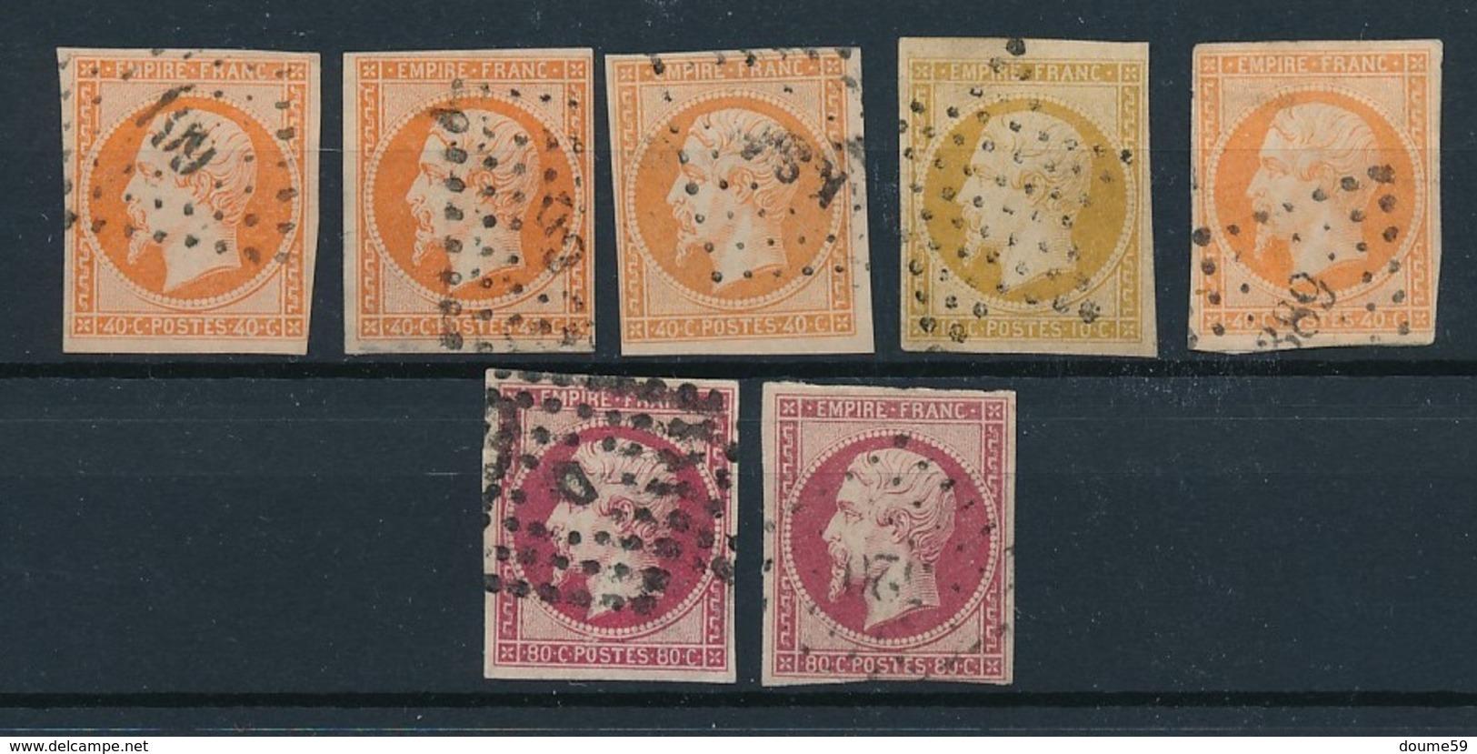 DB-20 FRANCE: Lot Avec Napoléon  N°16(5)-17A-17B - 1853-1860 Napoléon III