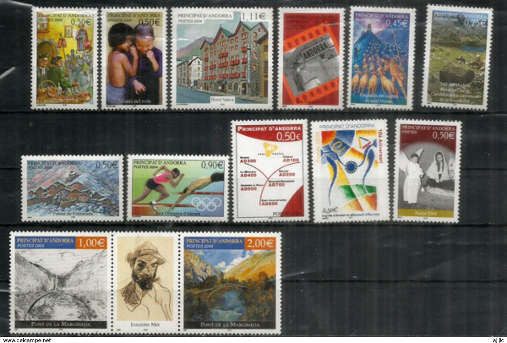 Année Complète 2004, 13 Timbres  Neufs **  Olympics Athens,Conseil De L'Europe,Code Postal Andorran,etc - Andorra Francese