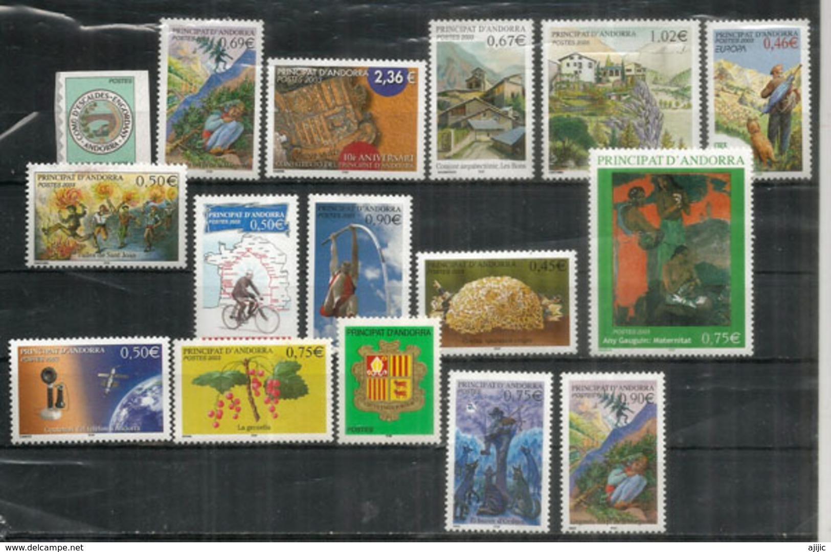 Année Complète 2003, 16 Timbres  Neufs **  Tour De France,saut à La Perche,groseilles,Gaughin,etc - Andorra Francese