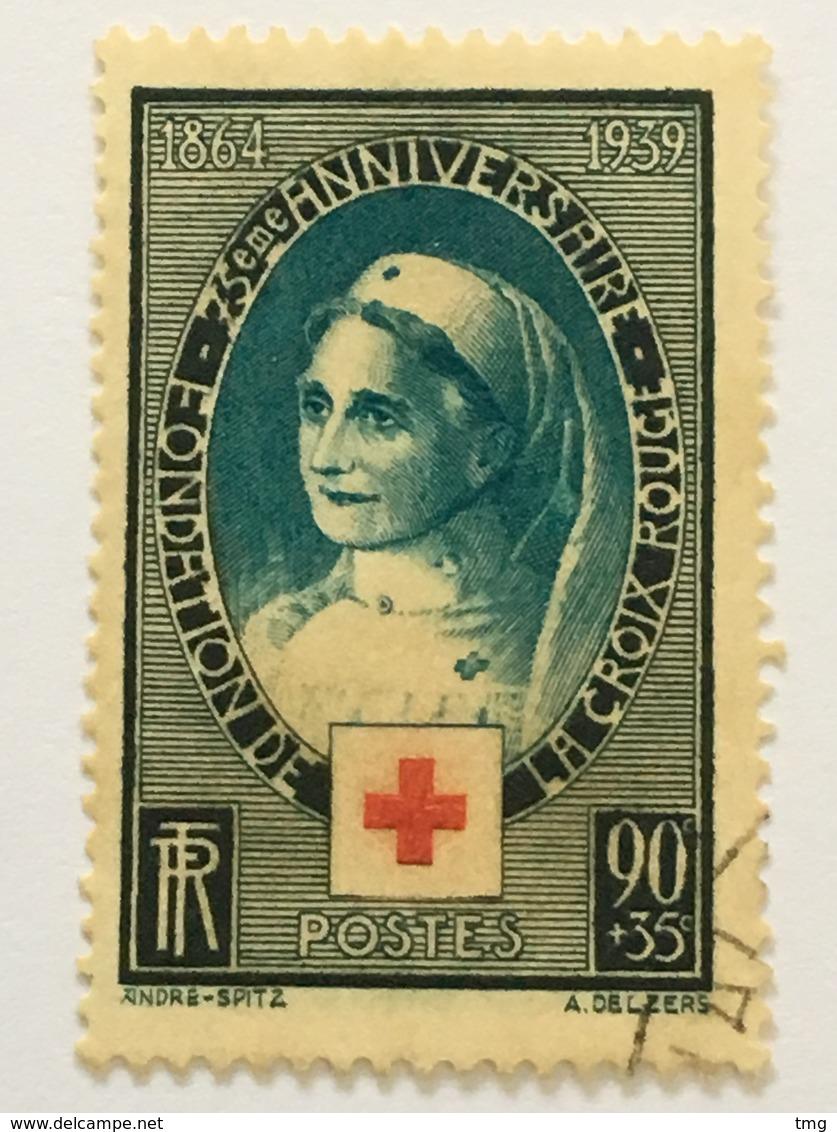 Timbre France YT 422 (°) 1939 75ème Anniversaire De La Croix-Rouge Internationale 90c+35c (côte 8,50 Euros) – 282 - Frankreich