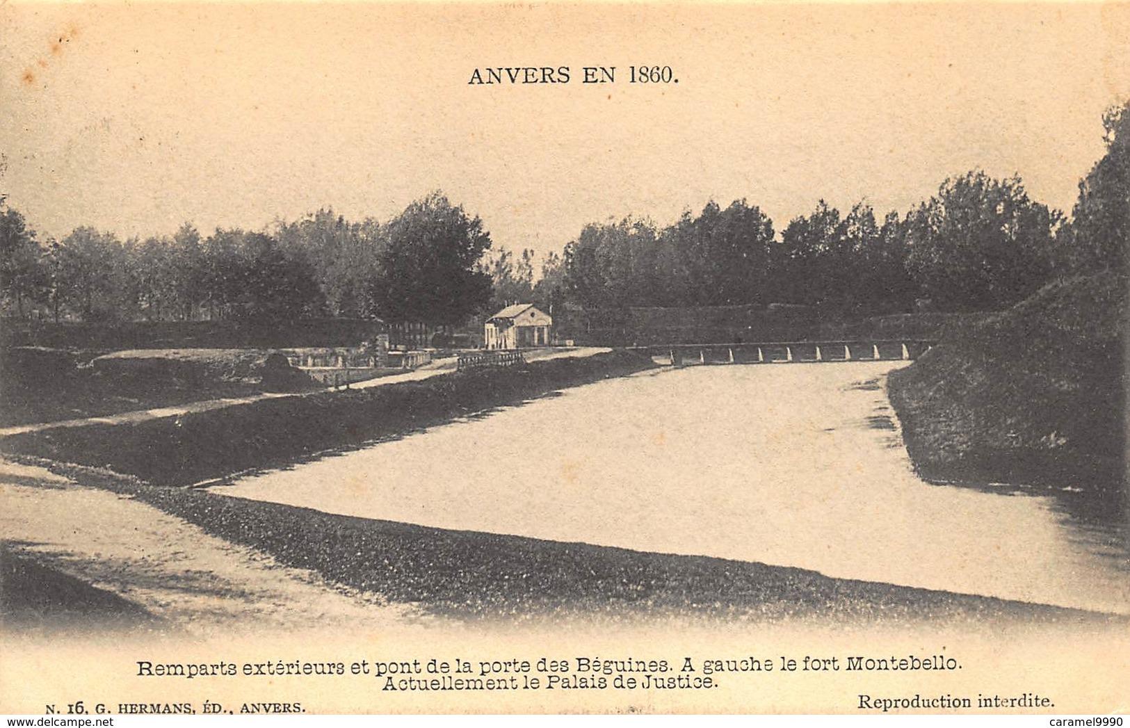 Antwerpen Anvers  En 1860  Remparts Exterieurs Et Pont De La Porte Des Béguines A Gauche Le Fort Montebello   L 734 - Antwerpen