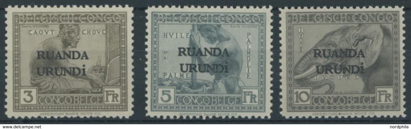 RUANDA-URUNDI 16-18 **, 1924, 3 - 10 Fr. Freimarken, 3 Postfrische Prachtwerte - 1916-22: Nuovi
